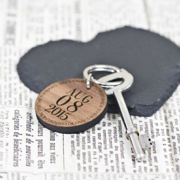 Custom Special Date Keyring - Circular Message Design